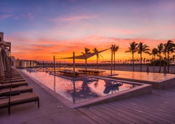 Sunrise over the pool in Al Fanar Hotel