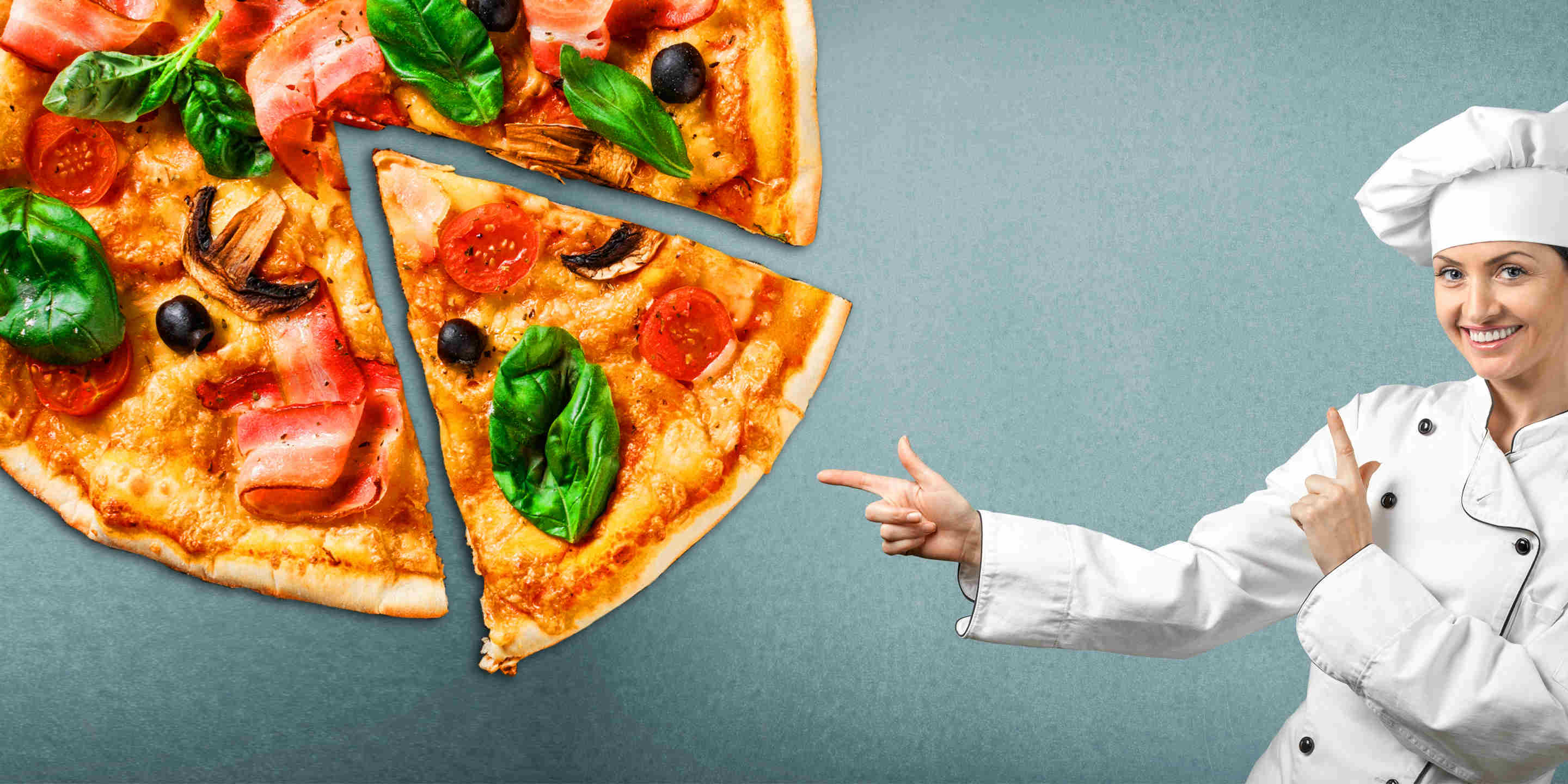 pizza chef pointing at a piece of pizza