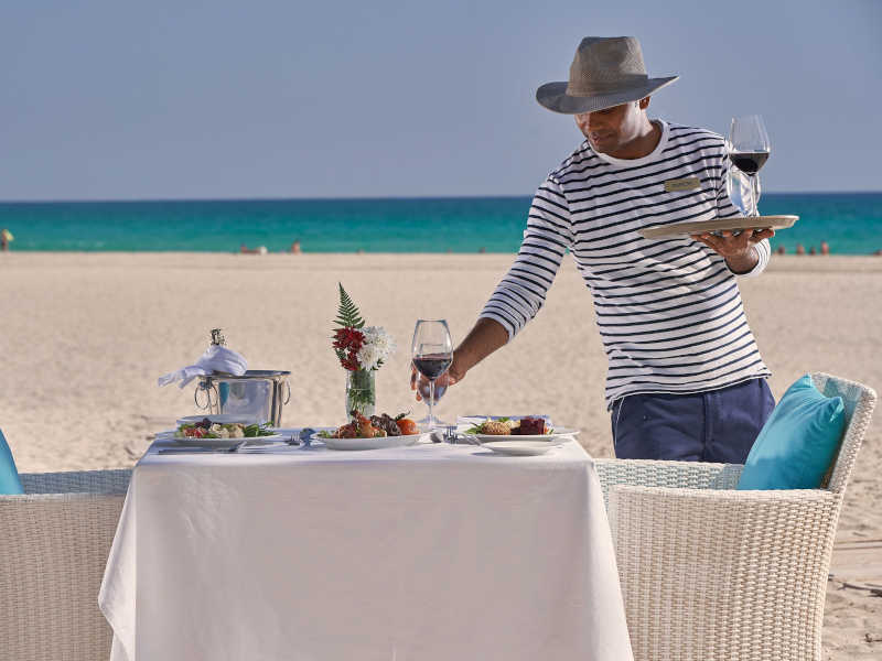 serving beach dining by the blue shimmering ocean at breakers cuisine in Fanar Hotel and Residences in Hawana Salalah Oman