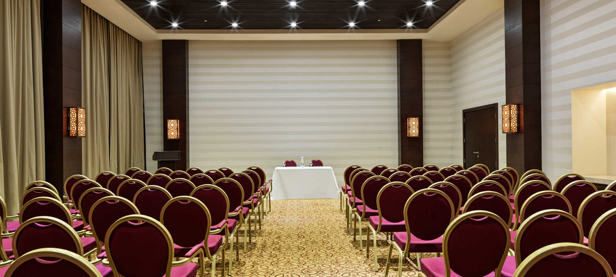 The meeting room for business events with theater setup at Fanar Hotel luxury facilities in Hawana Salalah Oman