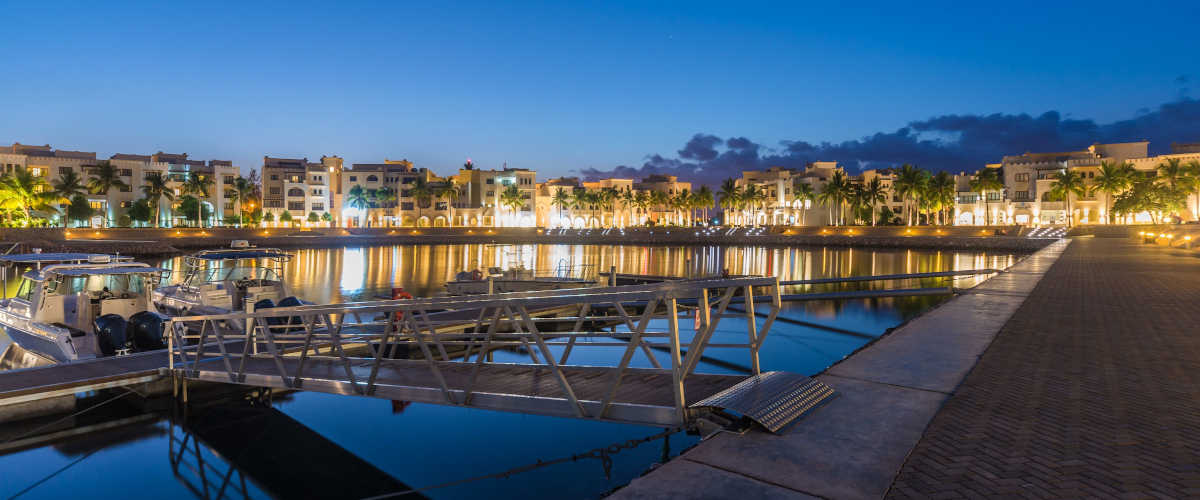 The Marina Night View in Fanar Luxury Resort in Hawana Salalah Oman