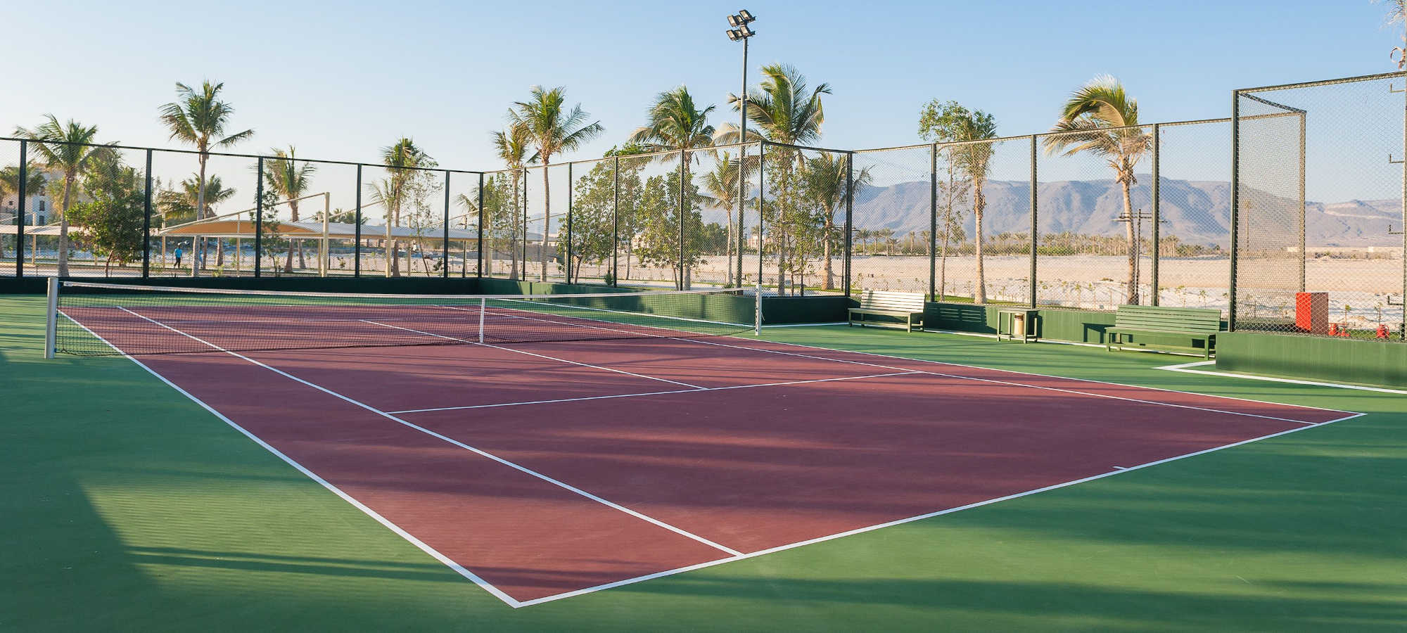 The hotel facility, the tennis court in Fanar Hotel & Residences in Hawana Salalah Oman