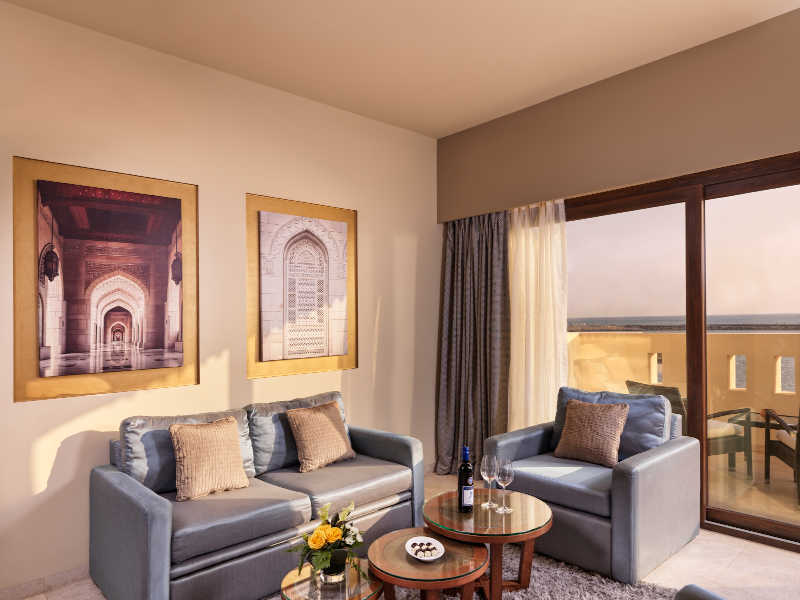 The living room of the deluxe suite at Fanar the family friendly resort in Hawana Salalah Oman
